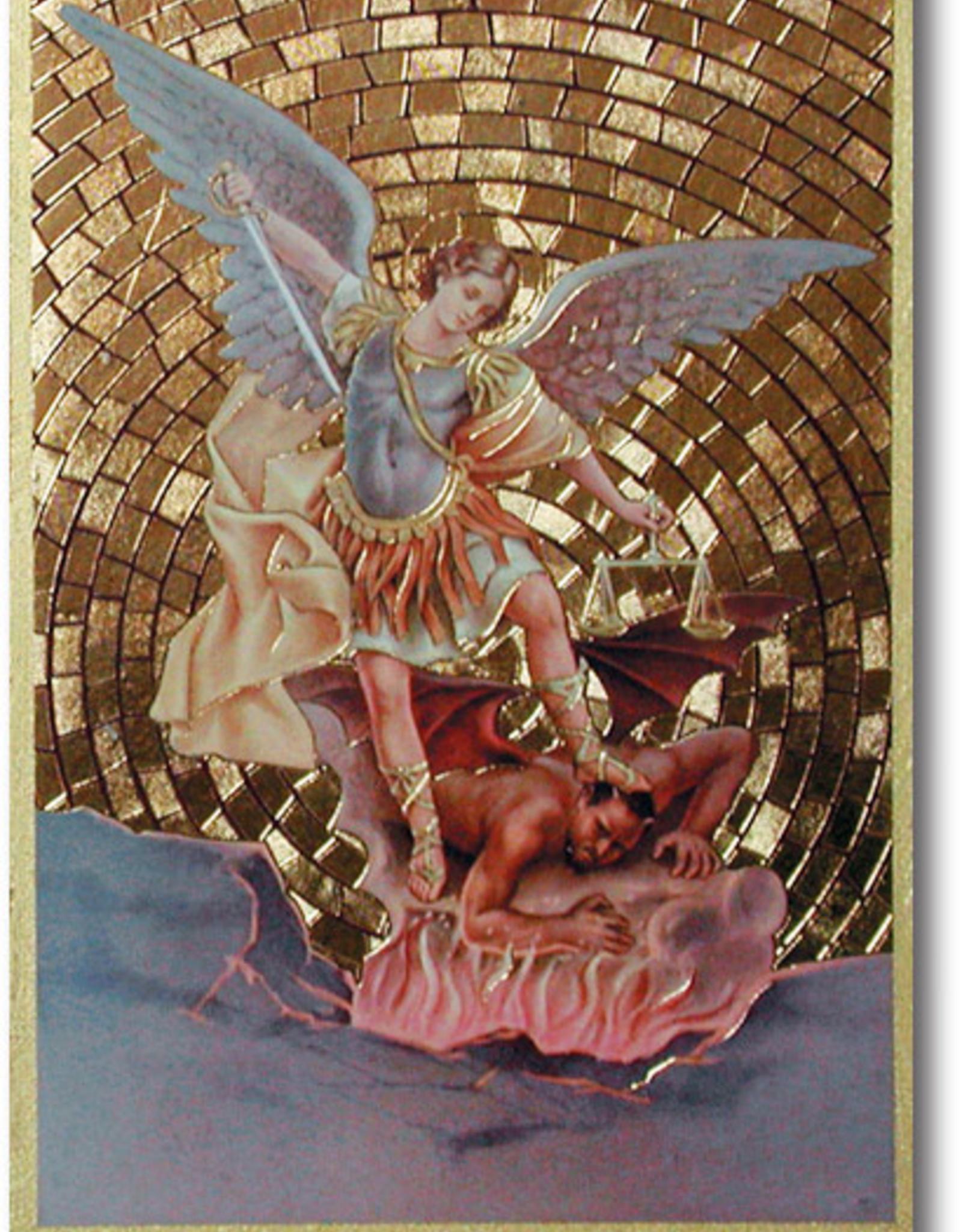"""WJ Hirten St. Michael Gold Foil Mosaic Plaque 4x6"""" (icon)"""