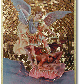 "WJ Hirten St. Michael Gold Foil Mosaic Plaque 4x6"" (icon)"