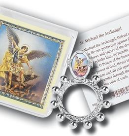 WJ Hirten St. Michael Finger Rosary and Prayer Card w/ pouch