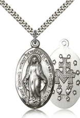 """Bliss Manufacturing Miraculous Medal in Sterling Silver (24"""" Stainless Steel Chain)"""