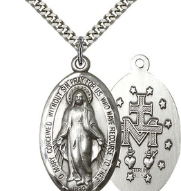 "Bliss Manufacturing Miraculous Medal in Sterling Silver (24"" Stainless Steel Chain)"