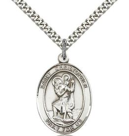 """Bliss Manufacturing St. Christopher Medal in Sterling Silver (24"""" Stainless Steel Chain)"""