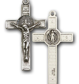 "Bliss Manufacturing St. Benedict Crucifix in Sterling Silver (24"" Stainless Steel Chain)"
