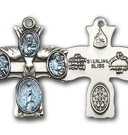 "Bliss Manufacturing 4-Way Cross in Sterling Silver (18"" Stainless Steel Chain)"