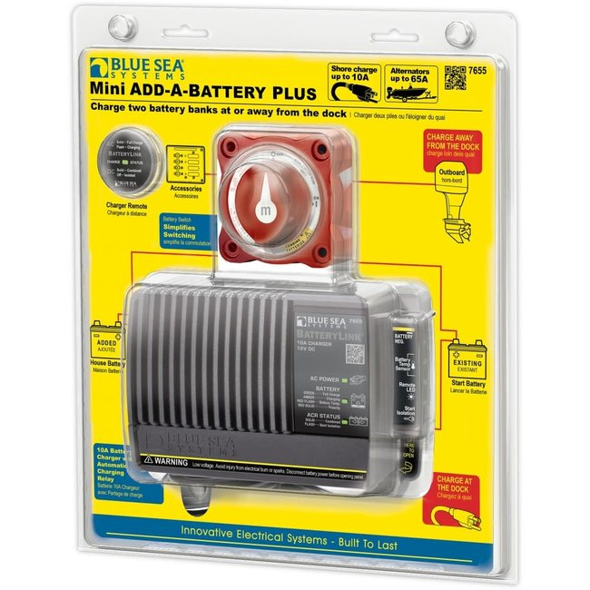 Blue Seas 10A Battery Charger with Switch Add-A-Battery