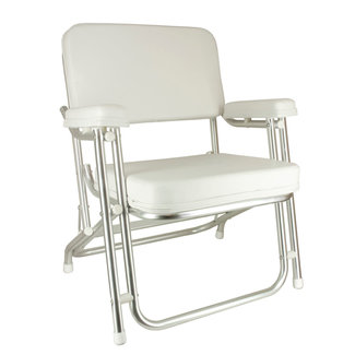 Springfield White Deluxe Folding Deck Chair