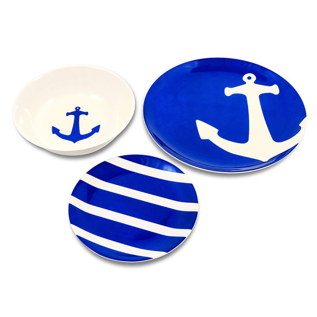 Marine accessories & maintenan 12pc Dish Set Blue/White Melamine