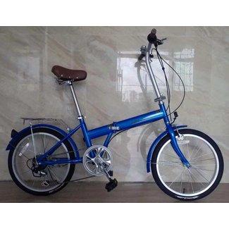 K-Rock Folding Bicycle Steel 6 Speed Blue
