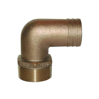 """Groco Hose Adapter 90 11/4"""" pipe to 11/8"""" Barb"""
