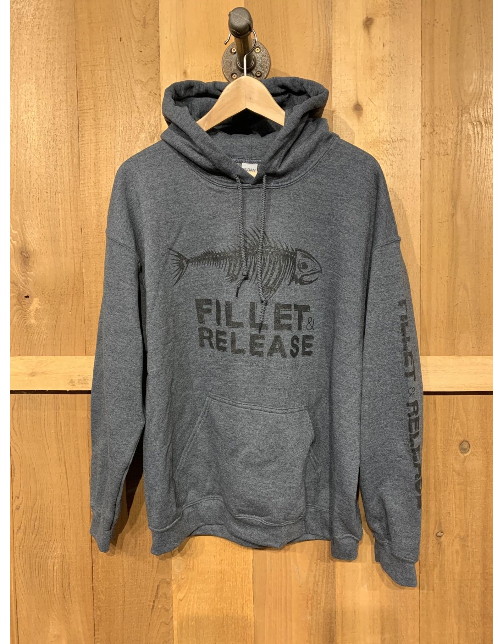 FILLET & RELEASE THE ORIGINAL FILLET & RELEASE GREY LIGHTWEIGHT HOODIE