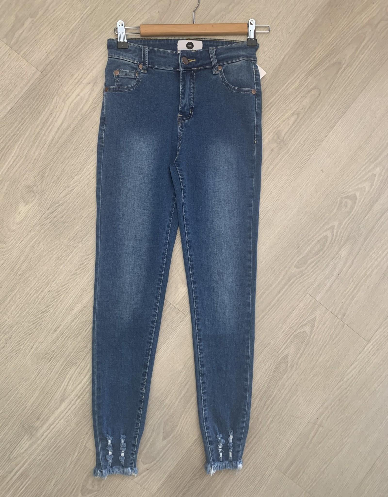 Wakee - Onyx Denim Jeans with Frayed Botton