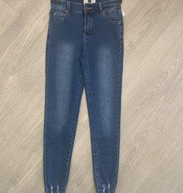 Wakee Onyx Denim Jeans with Frayed Botton