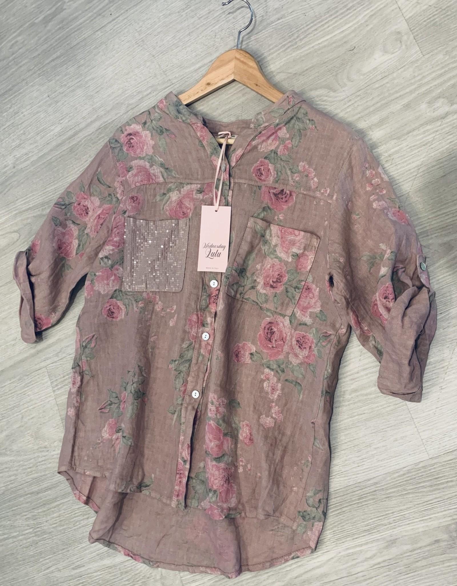 Wednesday Lulu Wednesday Lulu Blush Linen Floral Top S-M