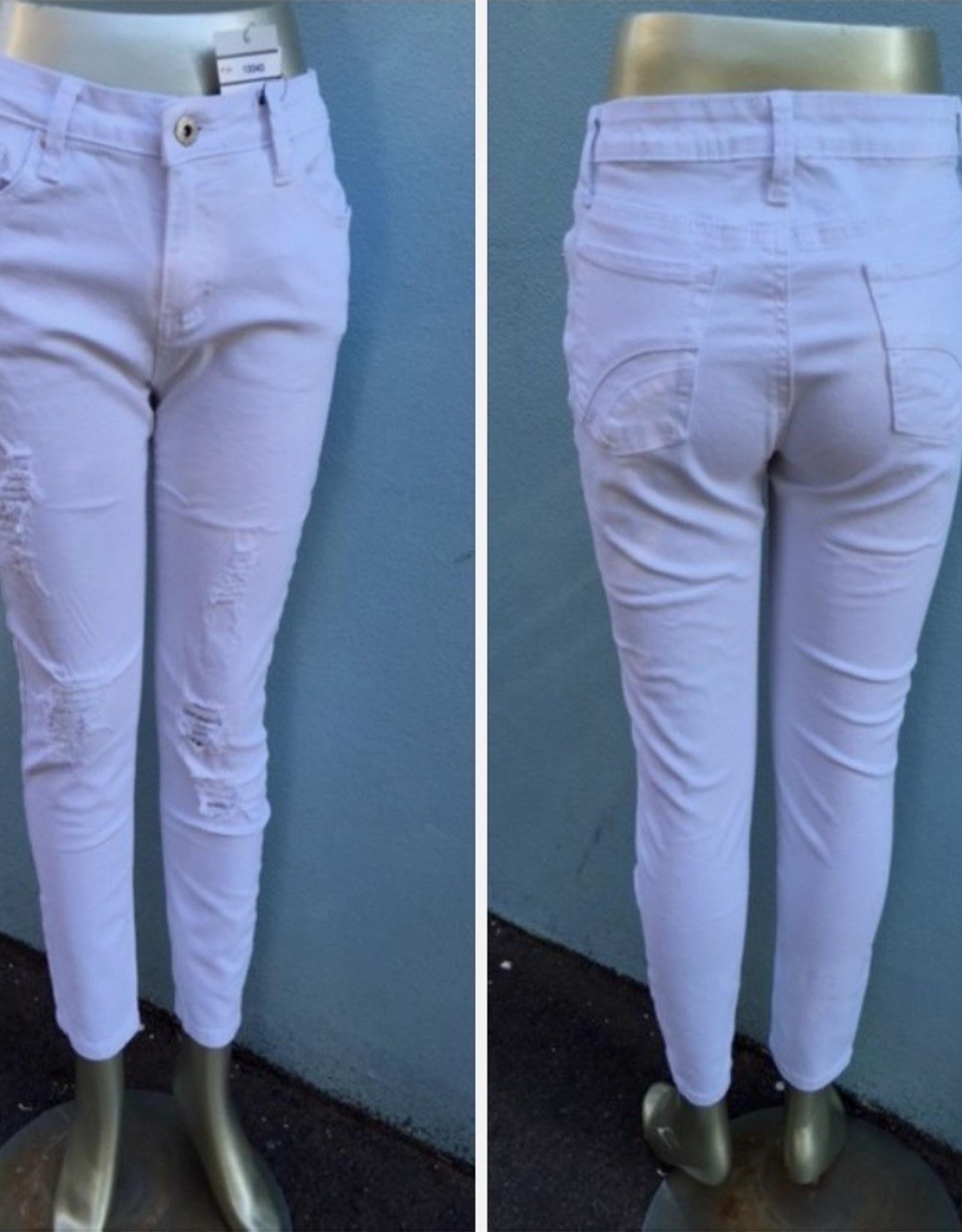 Wakeee - Designer Ripped Jeans White