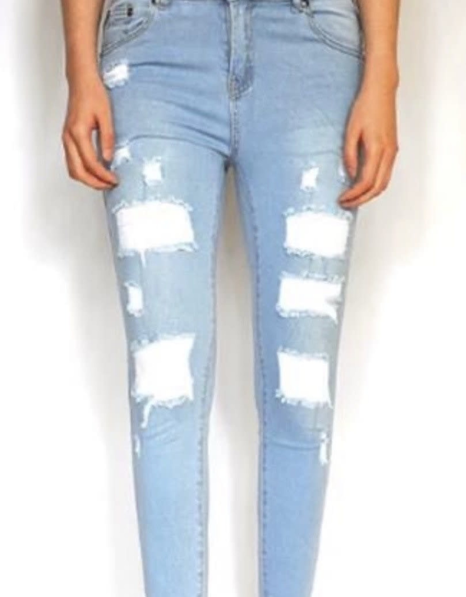 Wakee Onyx Light Faded Designer Ripped Denim With Backing