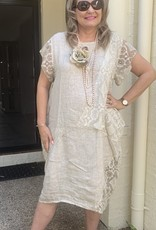 Wednesday Lulu Linen Dress with lace inserts