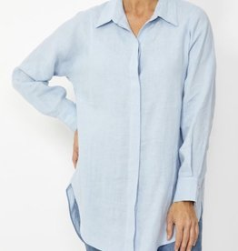 Ping Pong Ping Pong White Linen Boyfriend Shirt