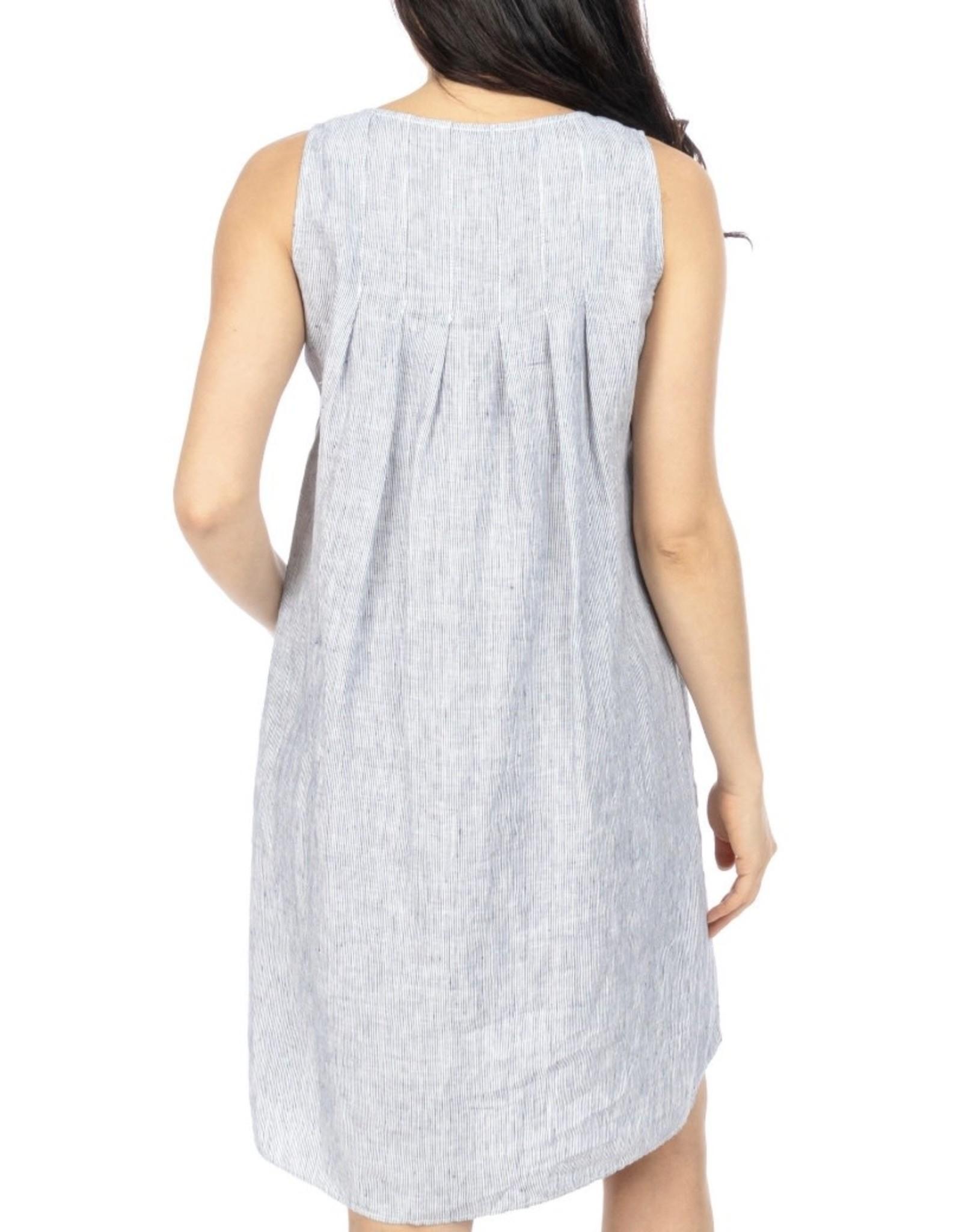 Jump Jump - Sleeveless Stripe Linen Dress