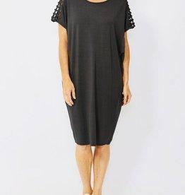 Ping Pong Drop Shoulder Black Lattice Dress