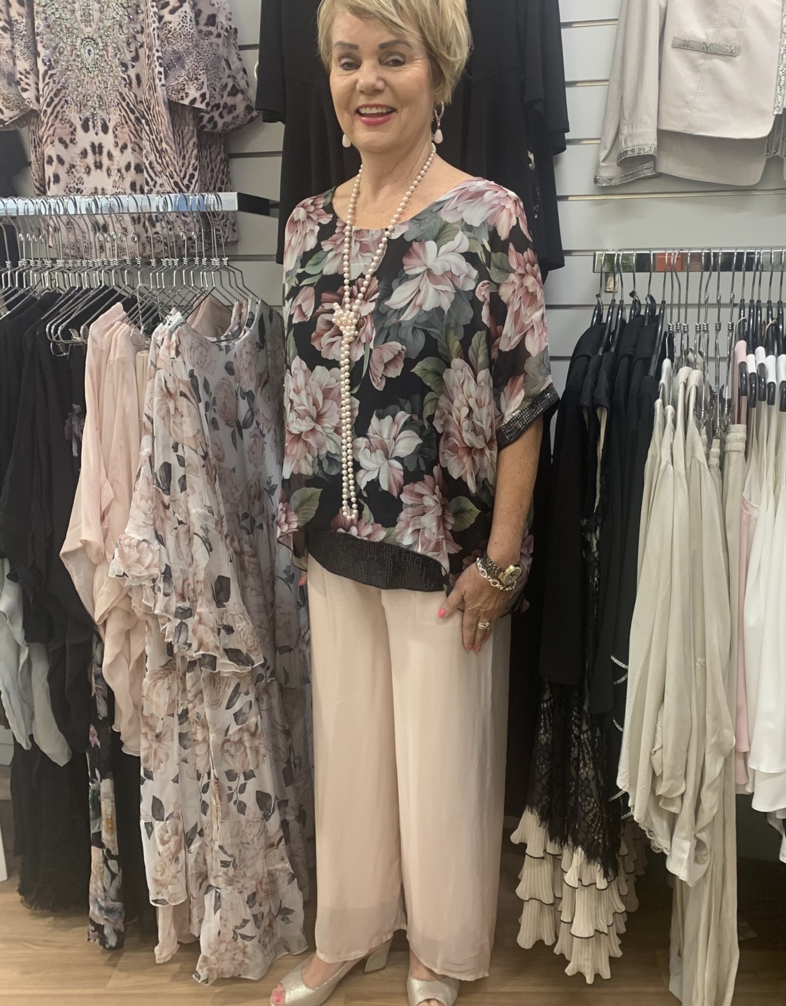 La Strada Elegant Silk Pants