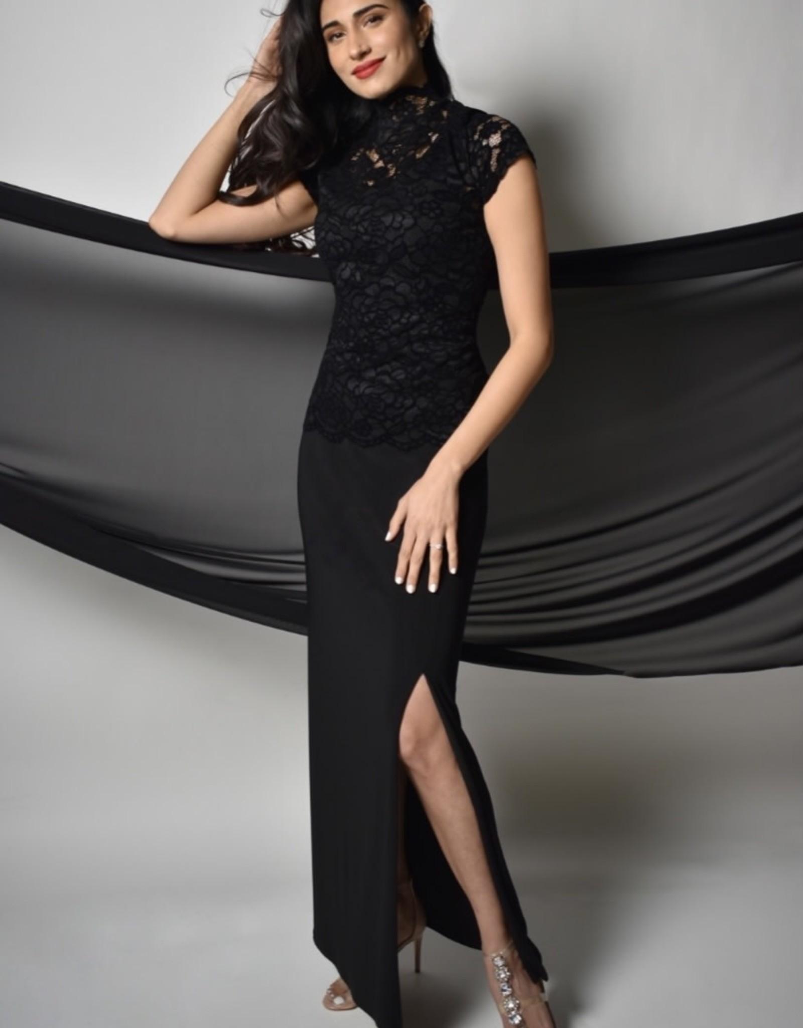Frank Lyman Black Elegance Skirt with a Side Split