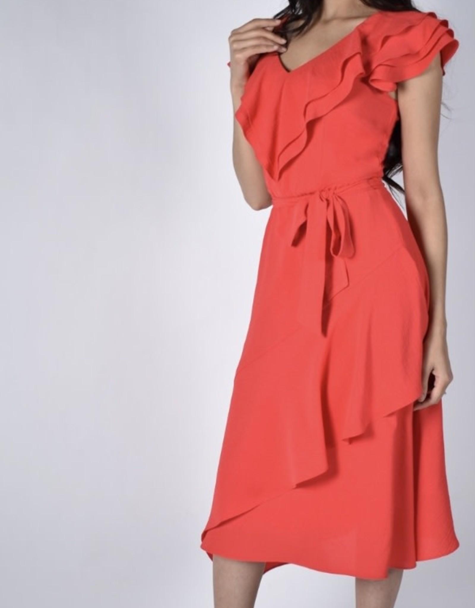 Frank Lyman Coral Frill Dress
