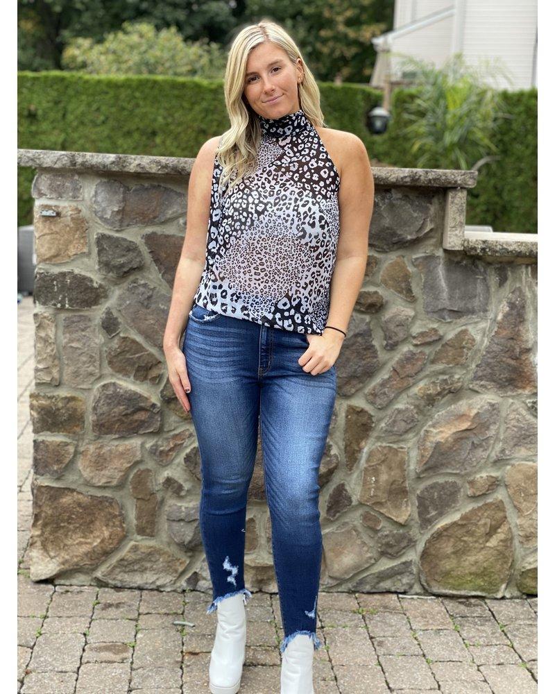 Elan Leopard Halter Blouse
