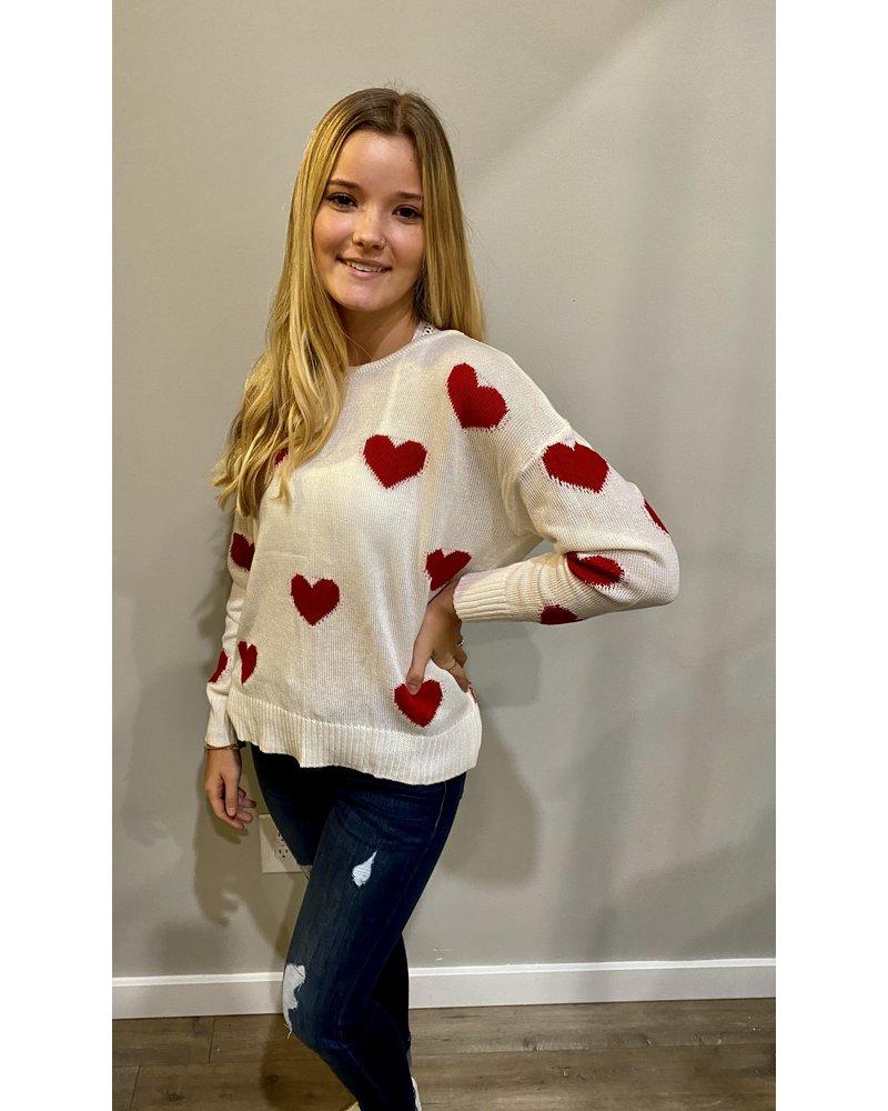 Trend Shop Open Back Heart Sweater