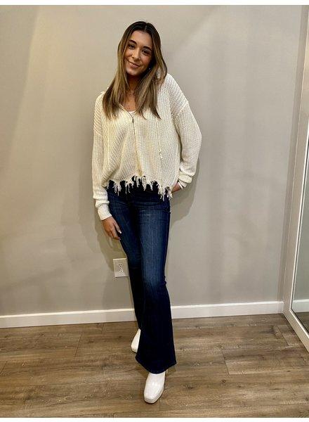 Elan Distressed Sweater Zipper
