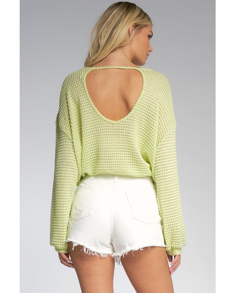 Elan Key Lime Crochet Top