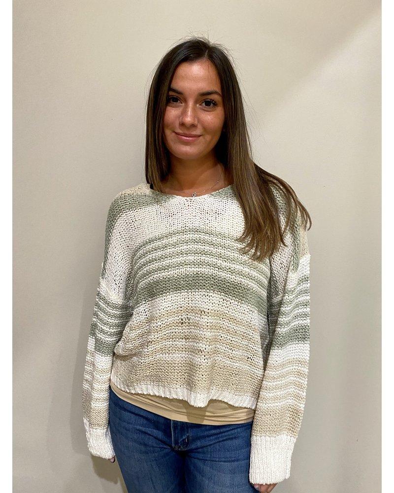 Elan Natural Sage Stripe Crochet Top