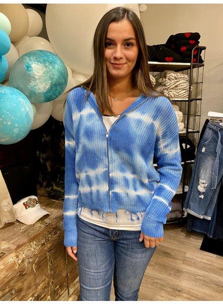 Elan Tie Dye Zip Up Sweater