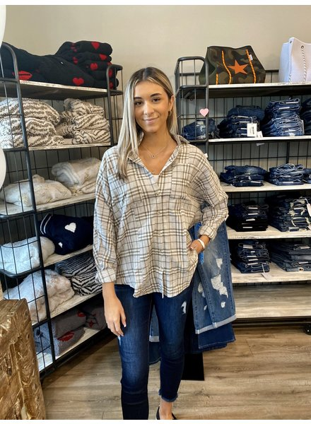 Hem & Thread Plaid Lace Oversized Top
