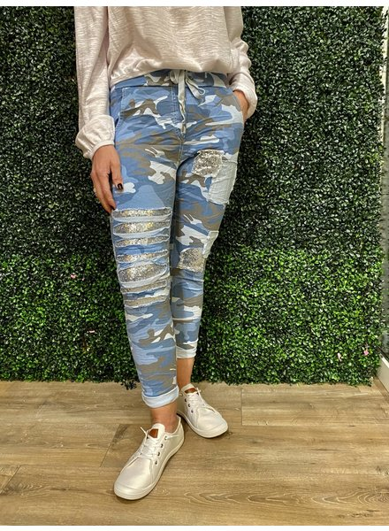 venti6 Camouflage Patch Detail Crinkle Jogger