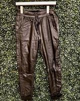 venti6 Braided Leather Stripe Crinkle Jogger
