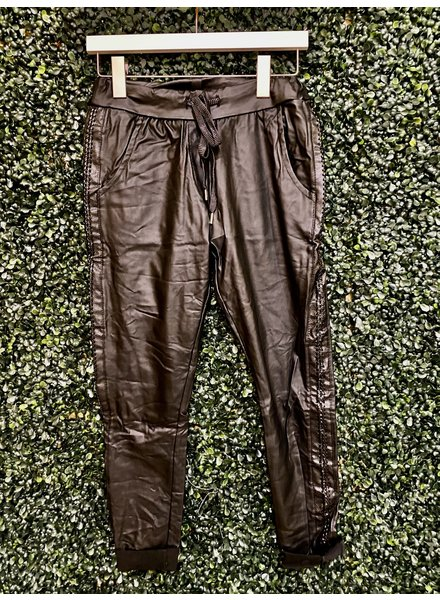 venti6 Braided Leather Stripe Crinkle Jogger