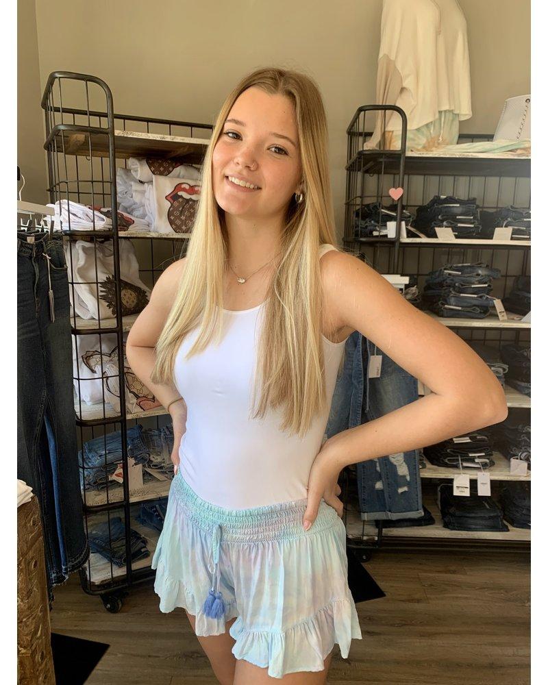 Surf Gypsy Lavender Tie Dye Ruffled Shorts