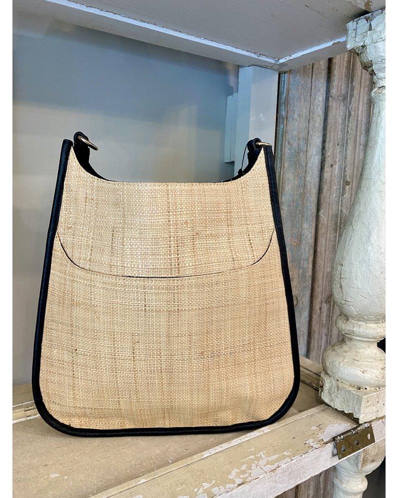 Ahdorned Raffia Classic Messenger Bag