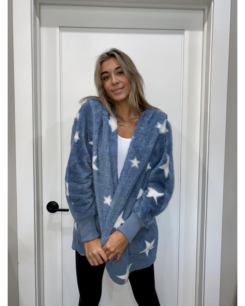 Hem & Thread Star Print Cozy Bearcoat