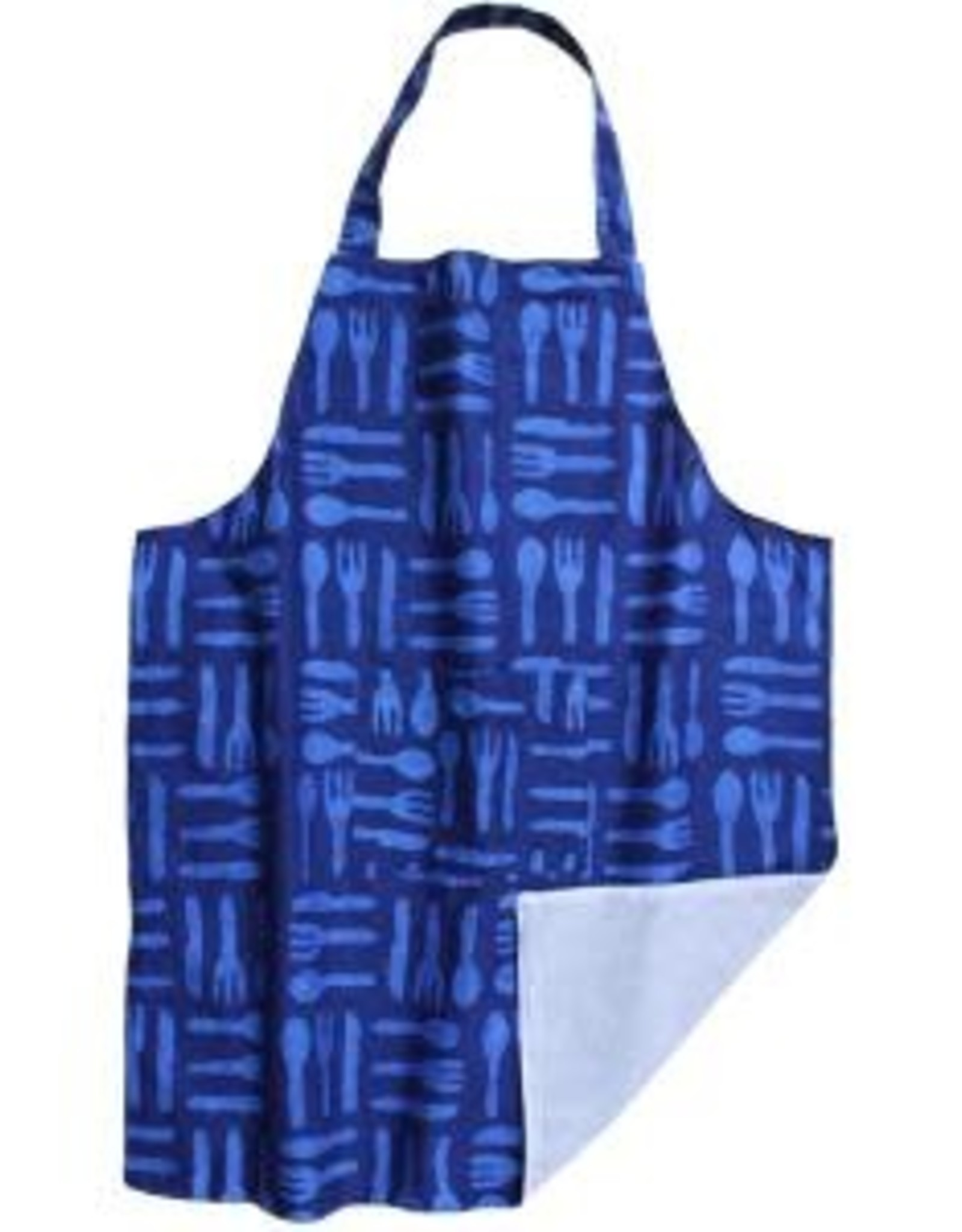 Global Mamas Apron Adult Silverware Blue