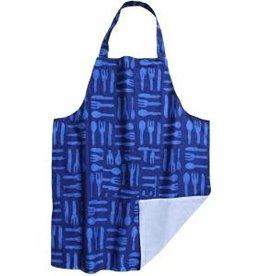 Global Mamas Apron Adult Silverware Blue