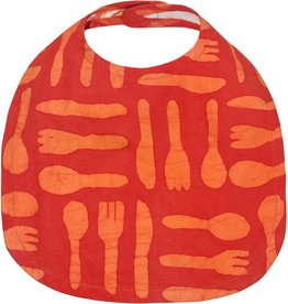 Babies Bib Silverware Orange