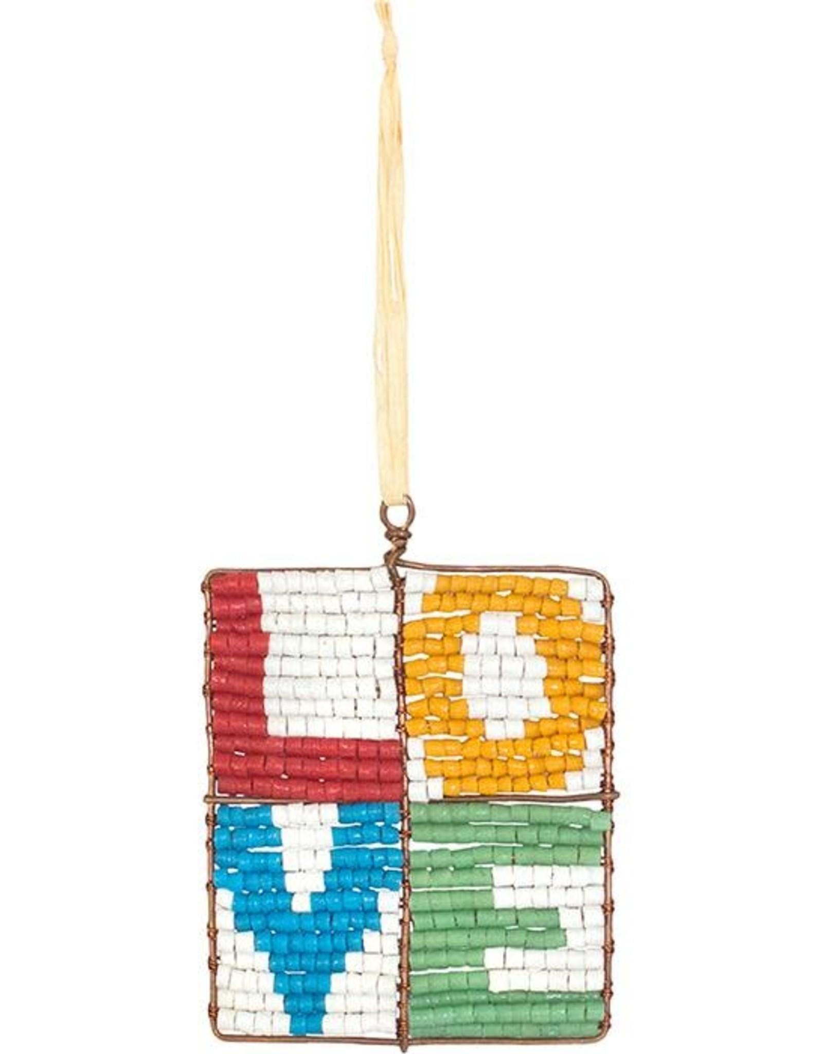 Beaded Mosaic Love Ornament