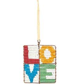 Global Mamas Beaded Mosaic Love Ornament