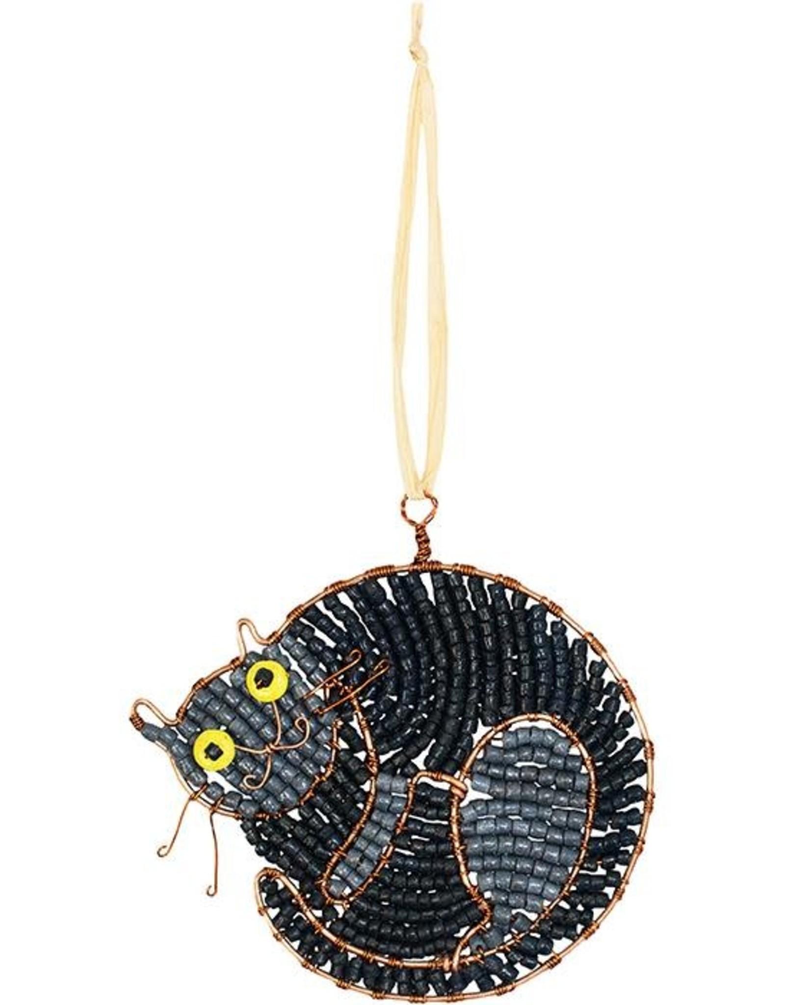 Global Mamas Beaded Sleeping Black Cat Ornament
