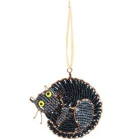 Beaded Sleeping Black Cat Ornament