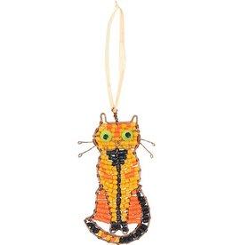 Beaded Tabby Cat Ornament