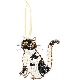Global Mamas Beaded Tuxedo Cat Ornament
