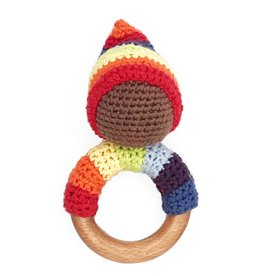 Pebble Multi Pixie Wooden Teether Ring Rattle