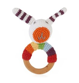 Pebble Rainbow Bunny Wooden Ring Rattle